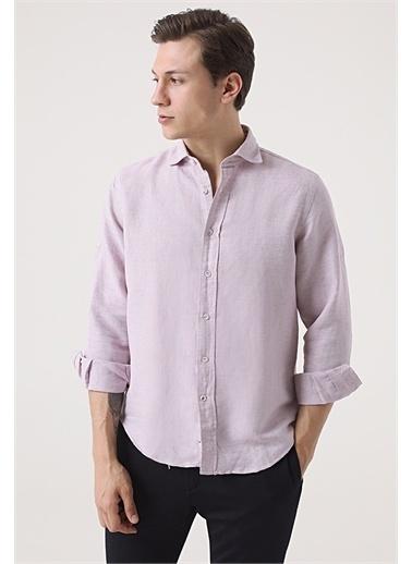 Damat Comfort Desenli Gömlek Pembe
